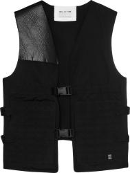 1017 Alyx 9sm Black Leather Paneled Buckle Vest