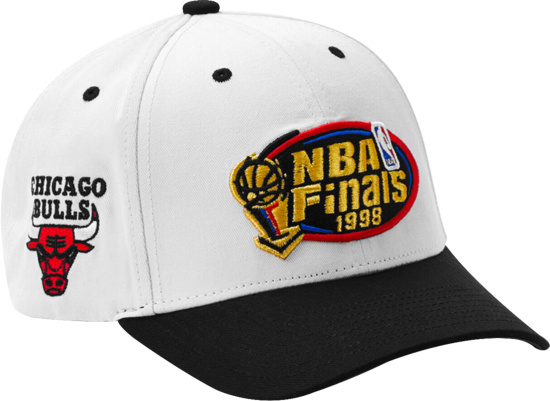 1998 Nba Finals Bulls V Jazz White And Black Hat