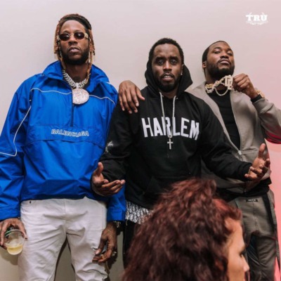 2 Chainz Pictured With Meek Mill And Diddy Wearing A Balenciaga Wind Breaker And Meek Mill Is Wearing A Fear Of God Grey Hoodie And Grey Sweatpants