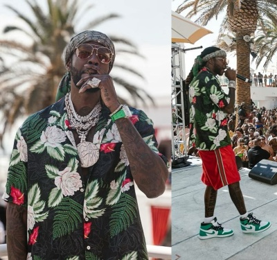 2 Chainz Wearing A Gucci Scarf Floral Shirt Gym Shorts And Jordan 1 White And Green Sneakers