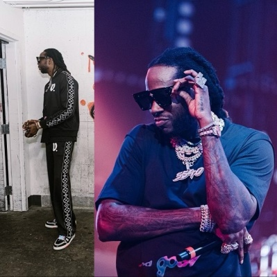 2 Chainz Wearing A Louis Vuitton Tracksuit And T Shirt With Trainer Snakers And Cyclone Sunglasses