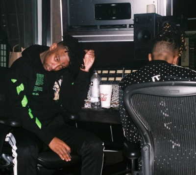 21 Savage Hits The Studio With Metro Boomin In An Off Whtie Hoodie And Palm Angels Track Pants