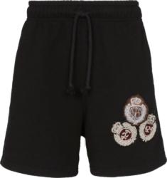 424 Brand Black Short With Logo Crest Embroiderey