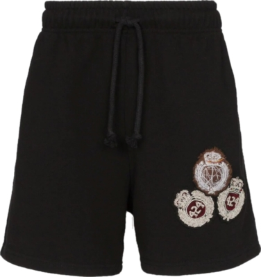 424 Brand Black Short With Logo Crest Embroiderey