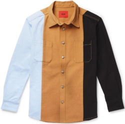 424 Oversized Colorbock Blue Brown And Black Striped Button Down Shirt