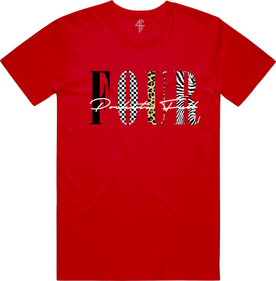 4pf Red Four Print T Shirt