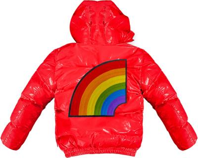 6ix9ine Red Rainbow Patch Puffer Jacket