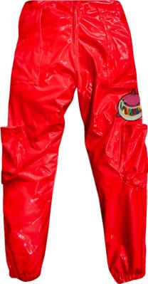 6ix9ine Shiny Merch Puffer Pants Red
