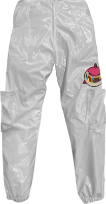 6ix9ine Shiny Merch Puffer Pants White
