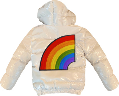 6ix9ine White Rainbow Patch Puffer Jacket