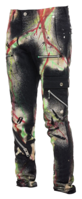 99 Percent Is Black Cargo Pants With Multicolor Spray Paint Splatter