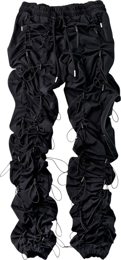 99%is Black Allover Bungee Cord Pants