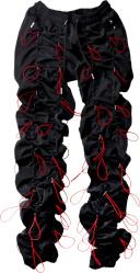 Black & Red Bungee Cord Pants