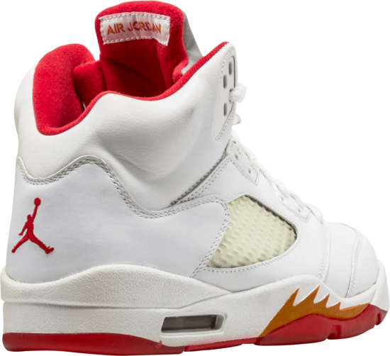 Air Jordan 5 Retro Womens White Red Orange