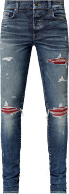 Amiri Red Suede Underpatch 'mx1' Jeans