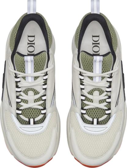 B22 Sneaker In White & Khaki Technical Knit With White & Gray Calfskin