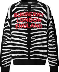 Burberry Black & White Zebra Striped Sweater