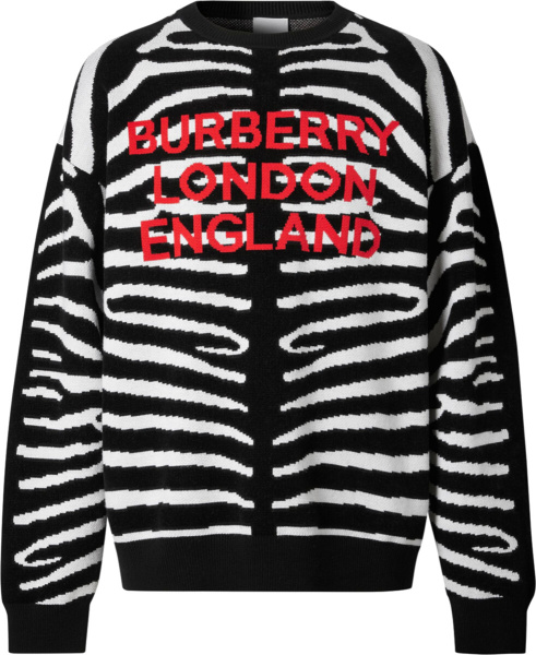 Burberry Black & White Zebra Striped Sweater