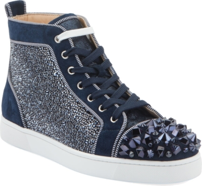 Christian Louboutin Embellished Navy High Top Sneakers