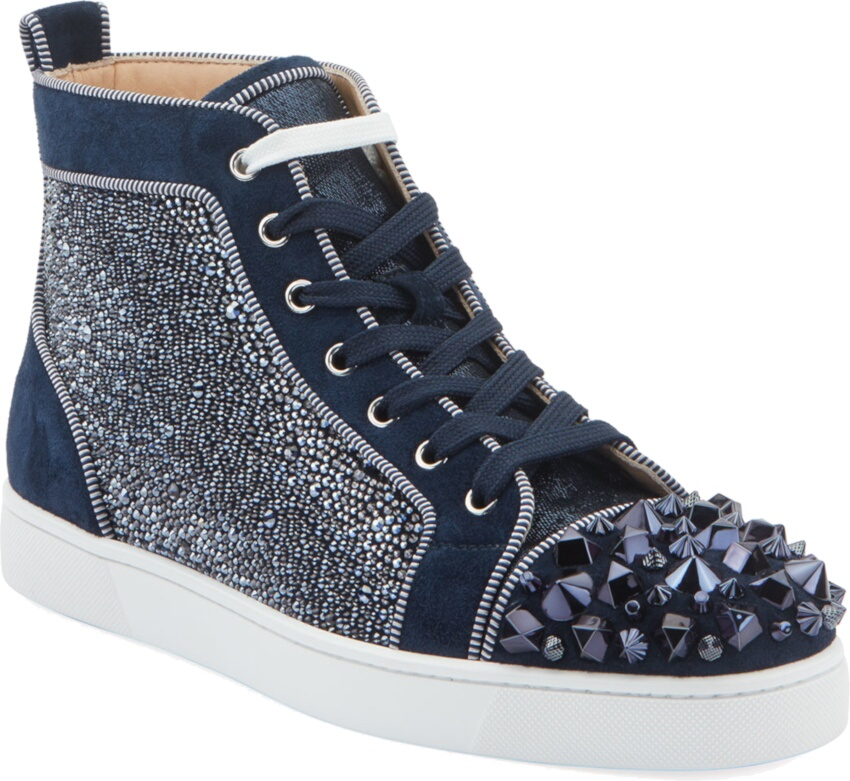 Embellished Navy Suede High Top Sneakers