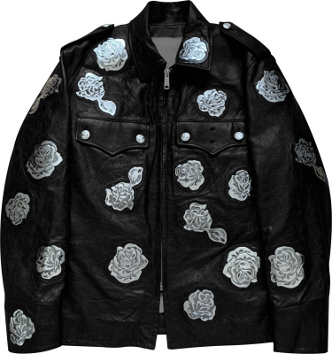 Calvin Klein 205w39nyc Rose Patch Black Leather Jacket