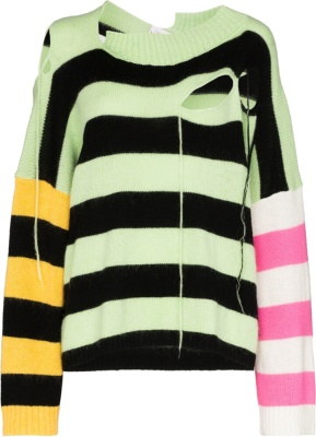 Charles Jeffrey Loverboy Multi Stripe Distressed Sweater