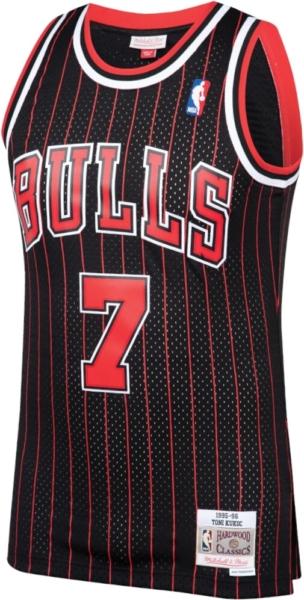 Chicago Bulls Toni Kukoc Black And Red Pinstripe Jersey