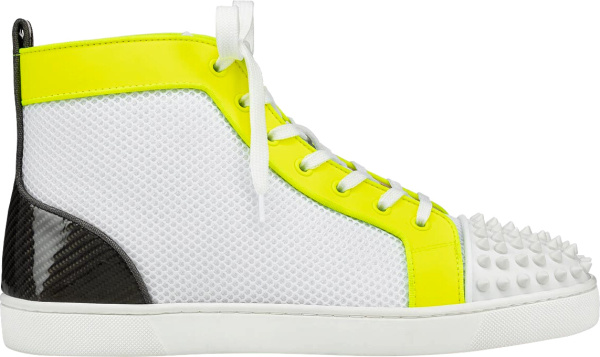 Christian Louboutin White & Yellow Lou Spikes Orlato Sneakers