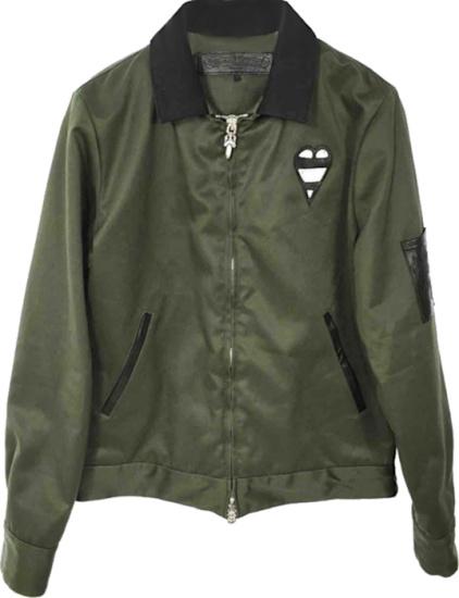 Chrome Hearts Dark Green 'smile' Bomber Jacket