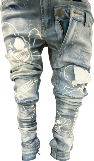Designerzoh Light Wash Skull Print Jeans