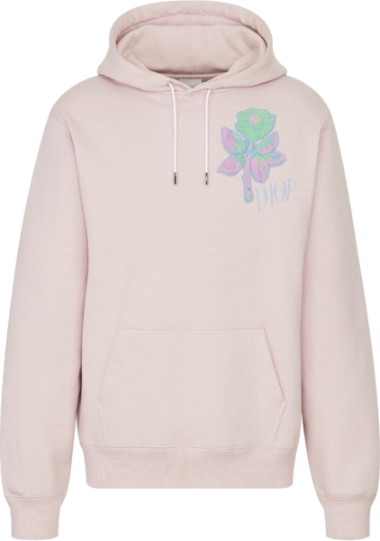 Dior And Alex Foxton Rose Embroidered Pink Hoodie