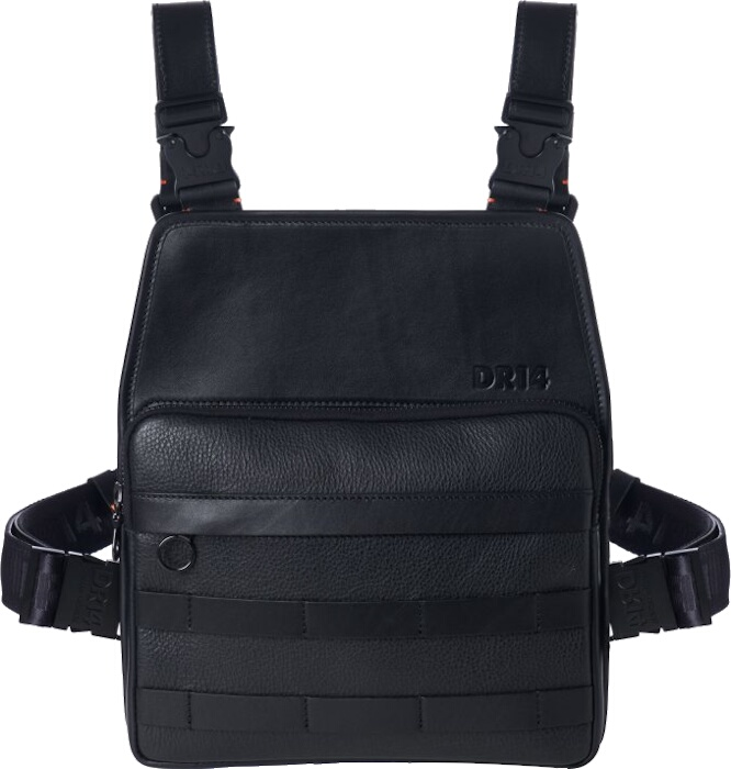 Black Leather Utility Chest Bag