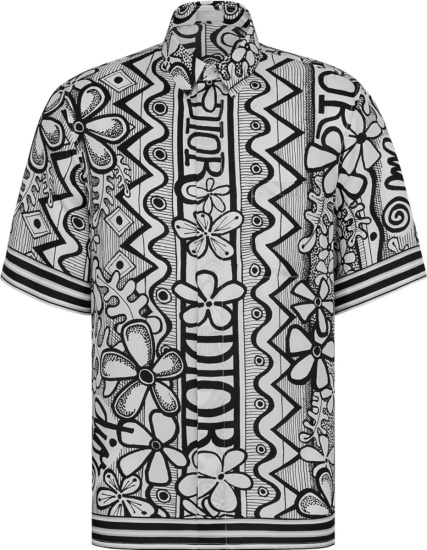 Dior Shawn Black & White Floral Hawaiian Shirt