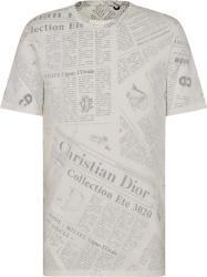 Dior X Daniel Arsham Newspaper Print White T Shirt