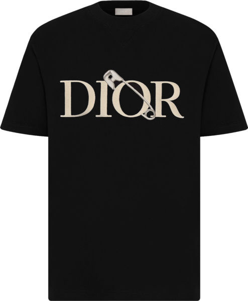 Dior X Judy Blame Safetypin Embroidered Black T Shirt 043j625b0554 C981