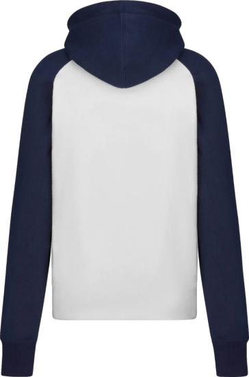 Dior X Kenny Scharf White And Navy Varsity Logo Hoodie