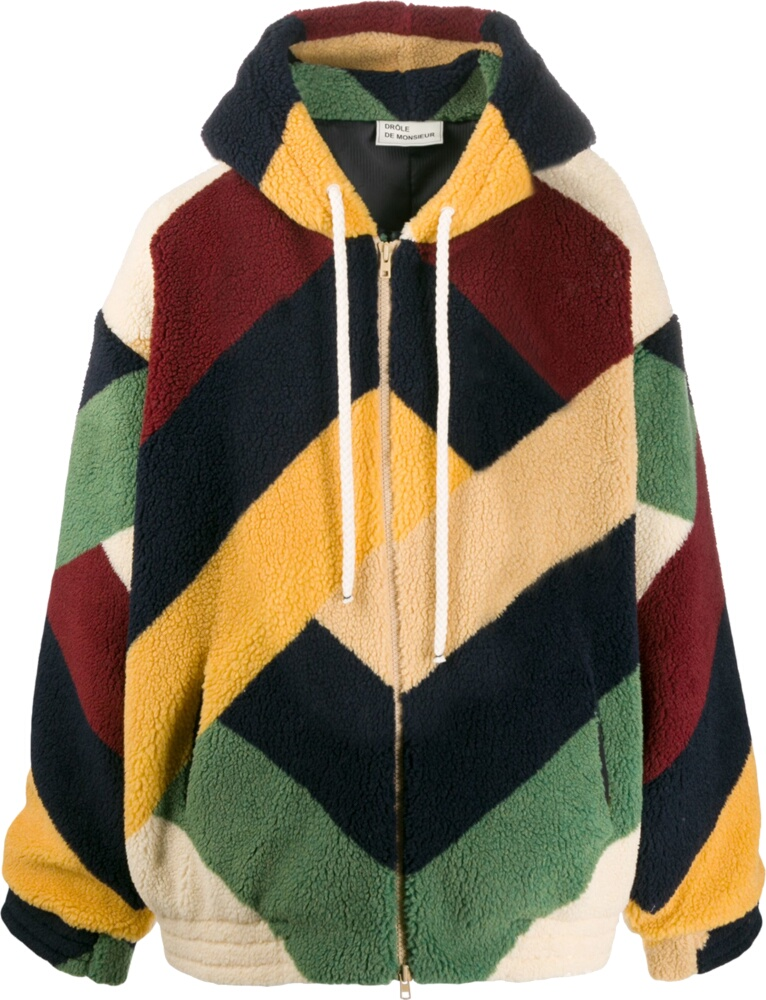 Drôle De Monsieur Oversized Multicolor Sherpa Fleece Zip Hoodie