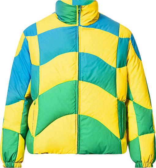 Erl Yellow Green Gradient Puffer Jacket