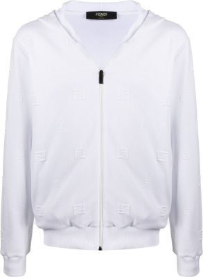 Fendi White Allover Monogram Zip Hoodie