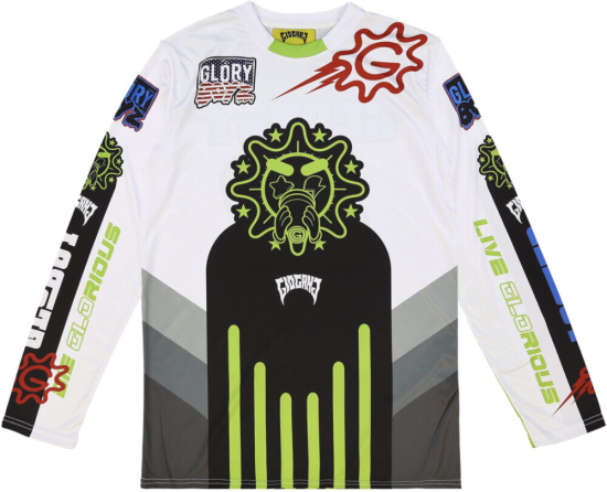 Glogang White & Green Motorcross Shirt