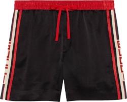 Gucci Logo Side Stripe Black Shorts