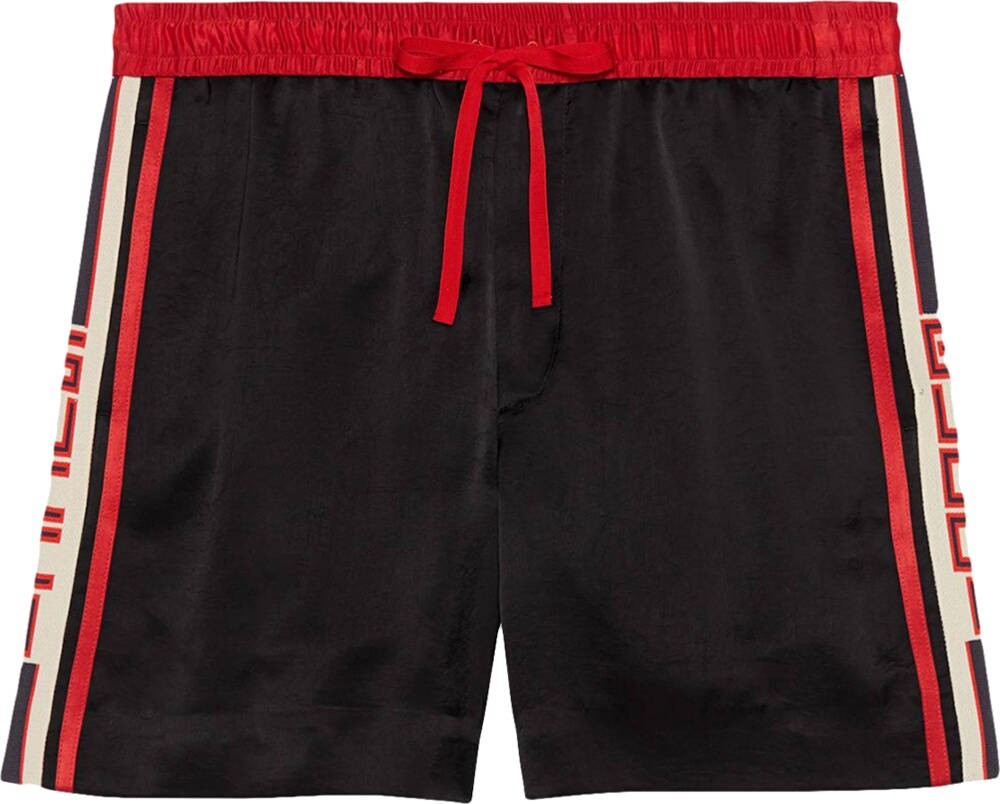 Side Stripe Black Shorts