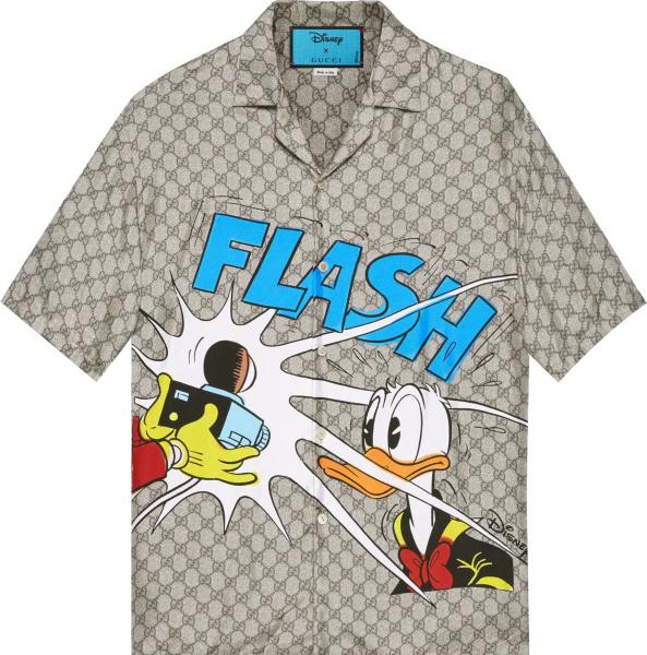 Gucci X Disney Beige Gg Donald Duck Shirt 646446zagcn2165
