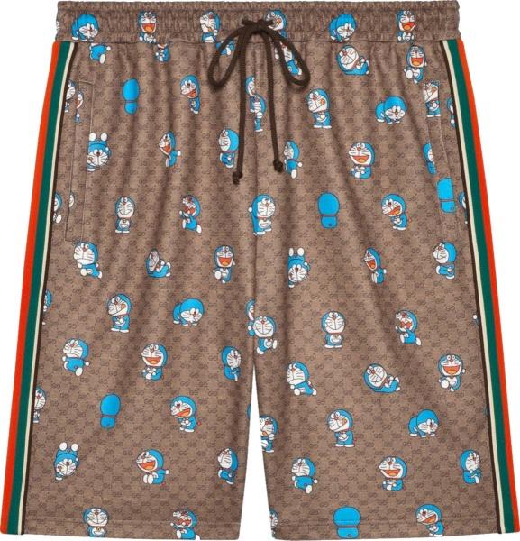 Gucci X Doraemon Beige Gg Fujiko Print Side Stripe Shorts 649062 Zagsh 2165