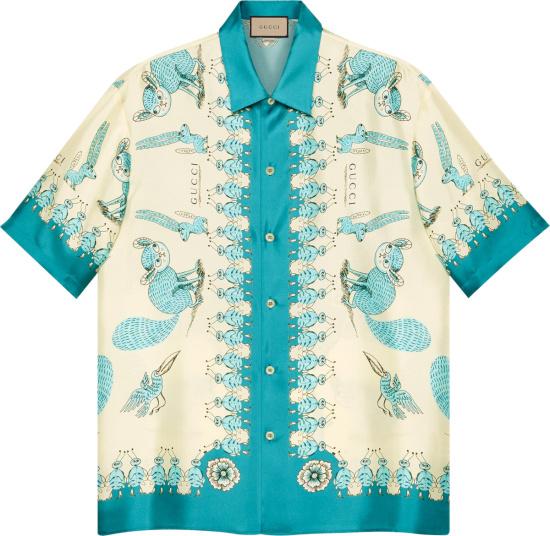 Gucci X Freya Hartas White Annd Blue Print Shirt 654886zagwy4262