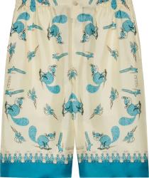 Gucci X Freya Hartas White Annd Blue Print Shorts 653403zagwx4262