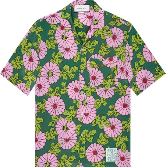 Gucci X Ken Scott Green & Pink Floral Shirt 649832 Zagak 5337