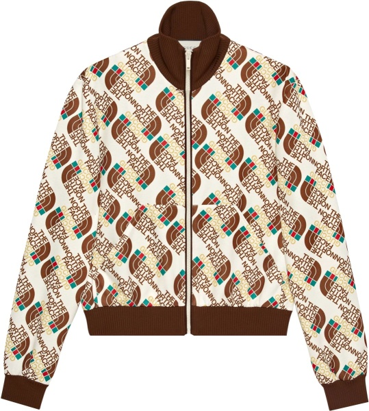 Gucci X The North Face White Allover Logo Track Jacket 651321 Xjdce 9141