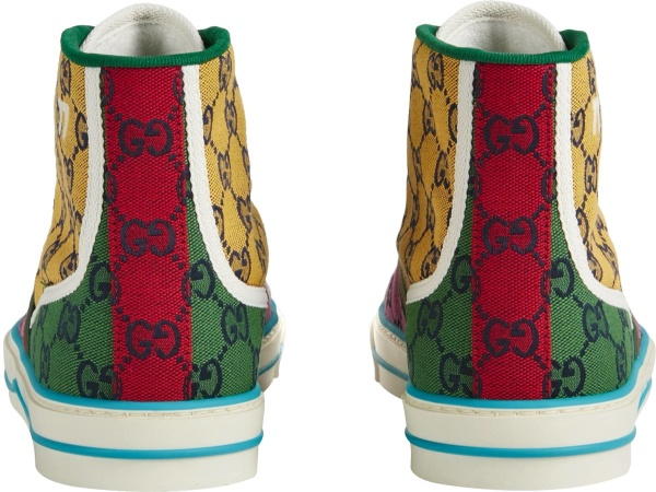 Gucci Yellow Gg Colorblock High Top Canvas Sneakers
