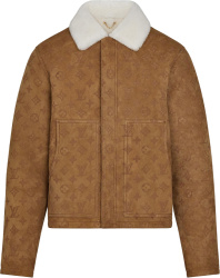 Louis Vuitton Brown Suede & Shearling Collar Jacket 1a89zp